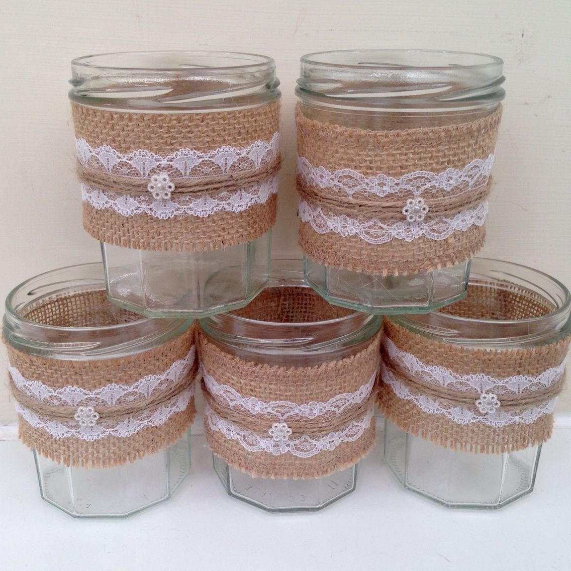 Hessian and lace jars #wedding #rustic