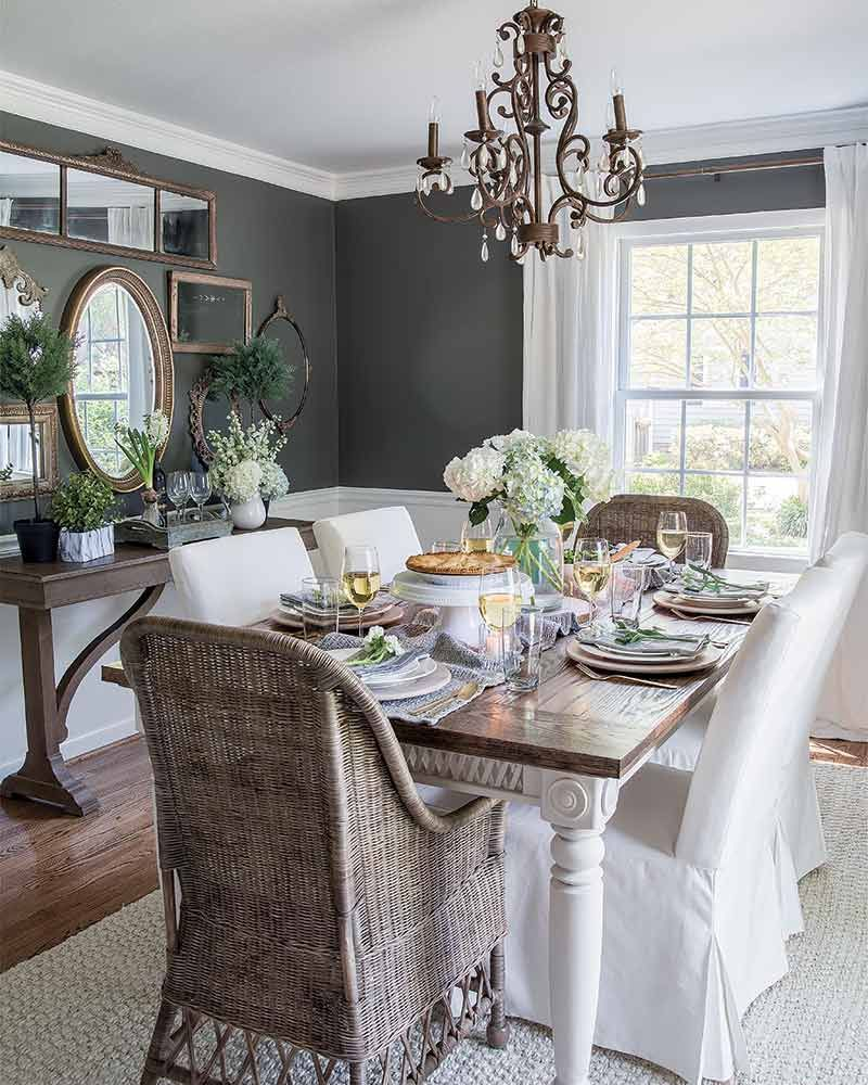 Dining Room With Dark Gray Walls In 2020 Eclectic Dining Room