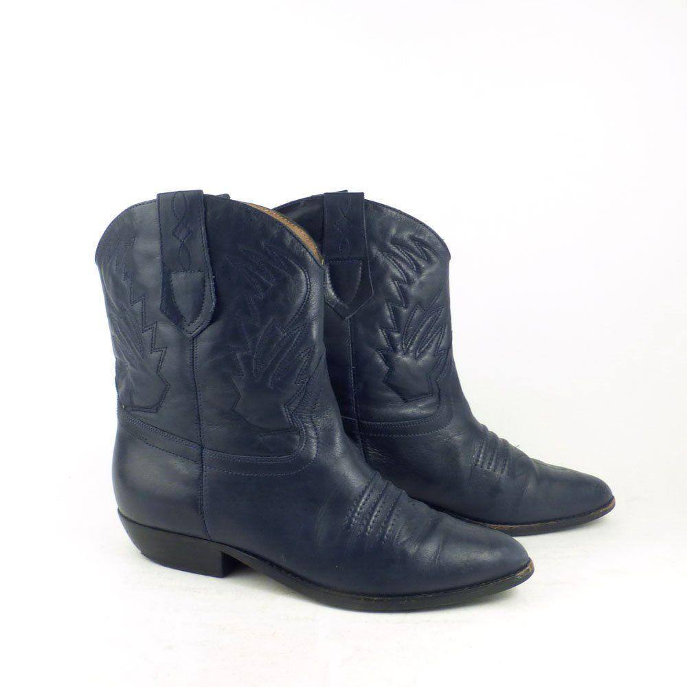 9b3024ccb25 Short Cowboy boots Vintage 1980s Brass Plum Navy Blue Leather Shoes ...