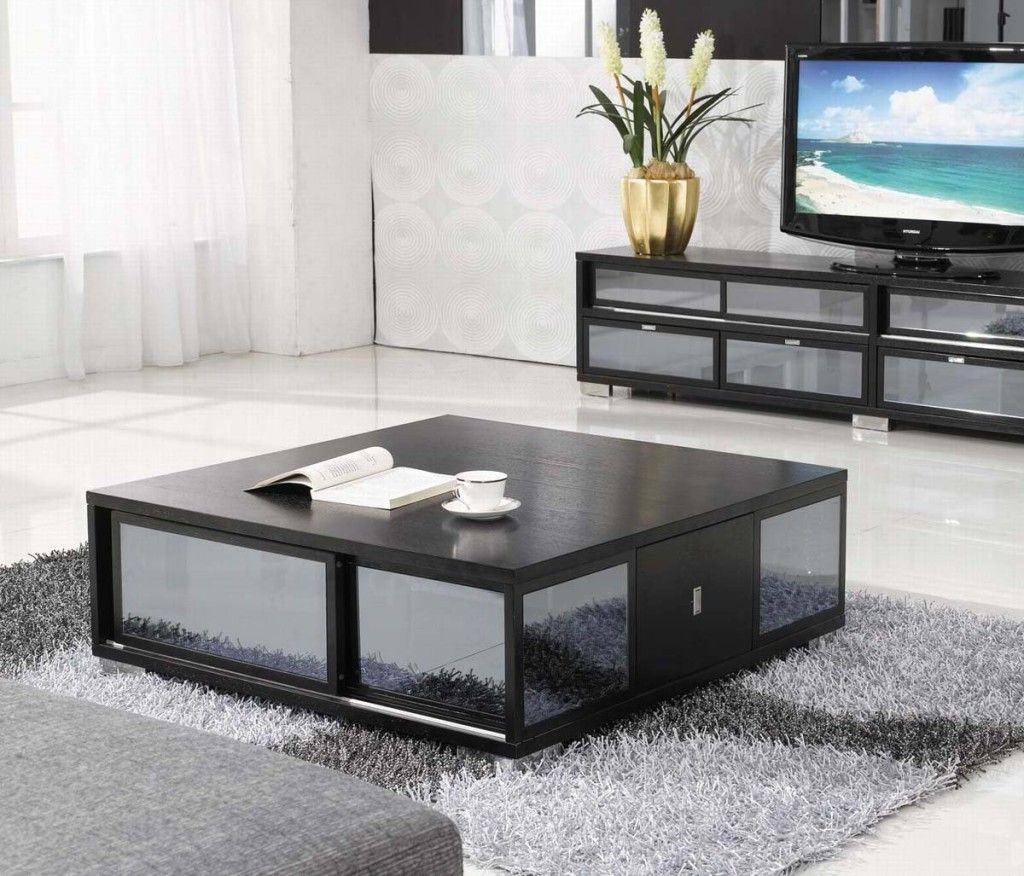 Black Design | Modern square black coffee table with stunning mirrored  details | #coffeetables modern. Living Room ... - Black Design Modern Square Black Coffee Table With Stunning