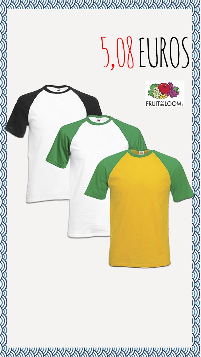 775548b4a Los mejores precios en camisetas!!!! Fruit of the loom - Baseball  5 ...