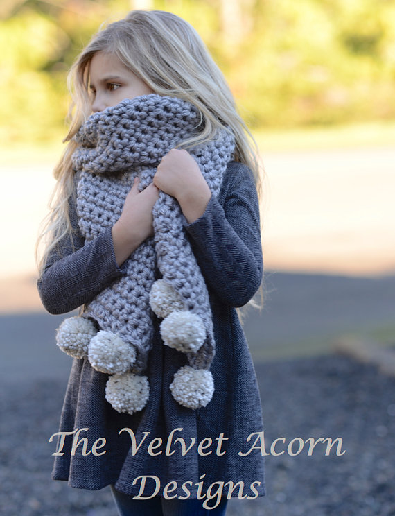 Crochet PATTERN-The Pebble Scarf (Small, Medium and Large sizes)