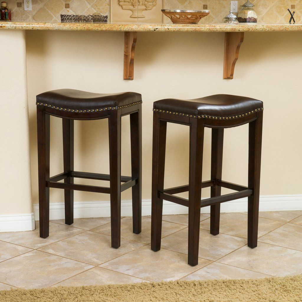 30 in bar stools. Jaeden Backless Brown Leather 30-Inch Bar Stools (Set Of 2 ) 30 In