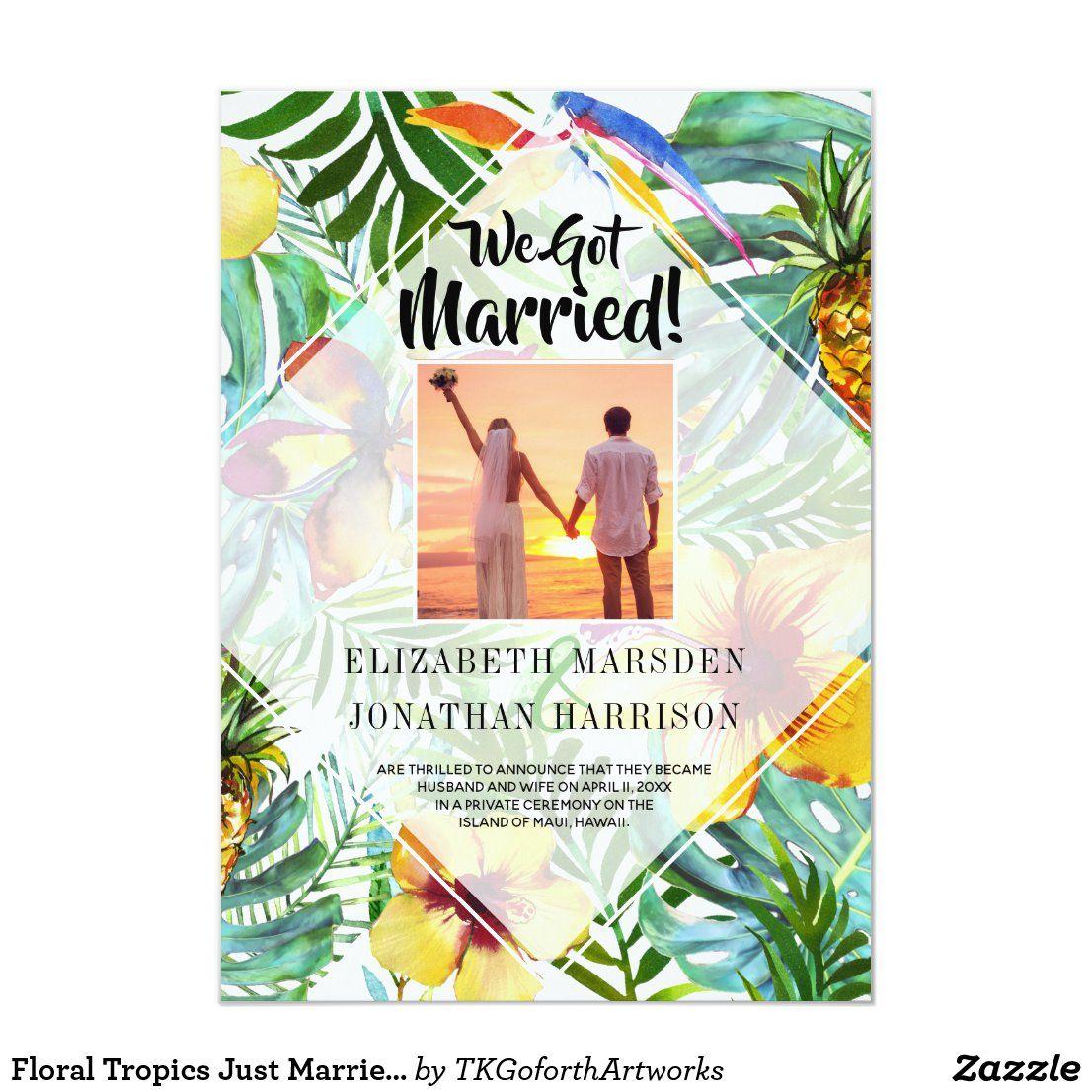 Elopement Invitation Pink Beach Just married Invitation Printed invitation Tropical Just married invitation Summer Marriage Announcement