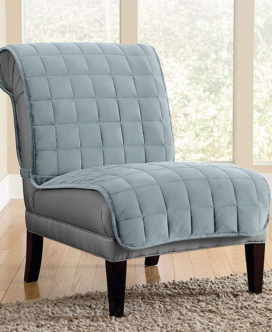 Sure Fit Velvet Deluxe Pet Armless Chair Slipcover With Sanitize Odor Release Around The House