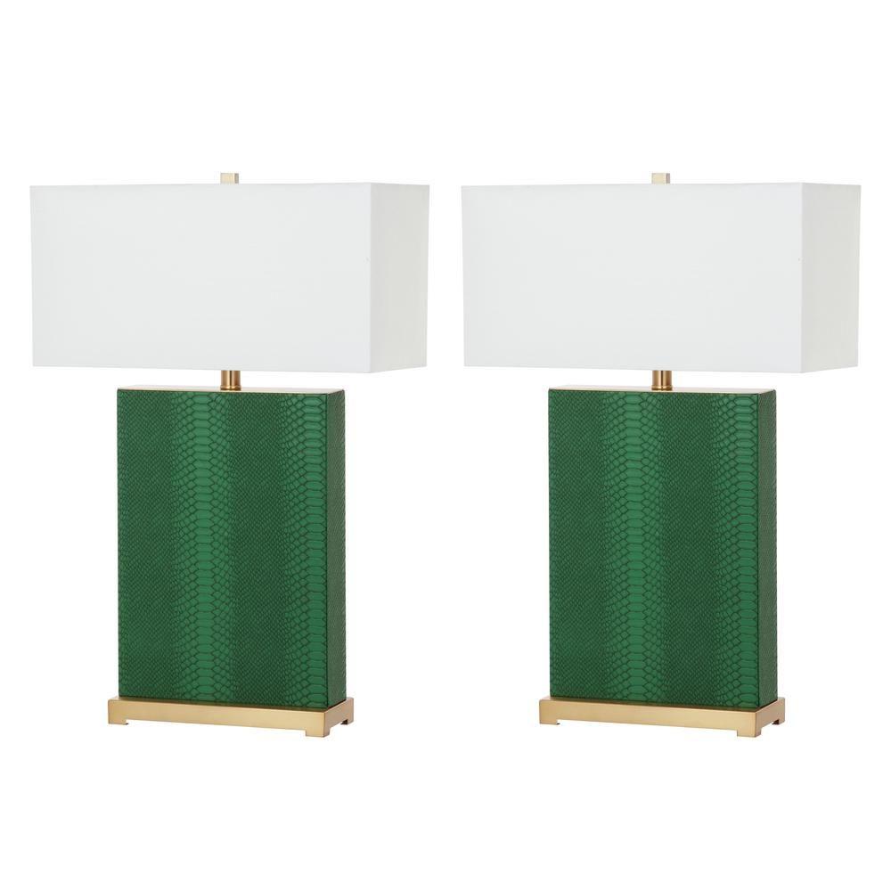 Safavieh Joyce 27 75 Jade Faux Snakeskin Table Lamp Set Of