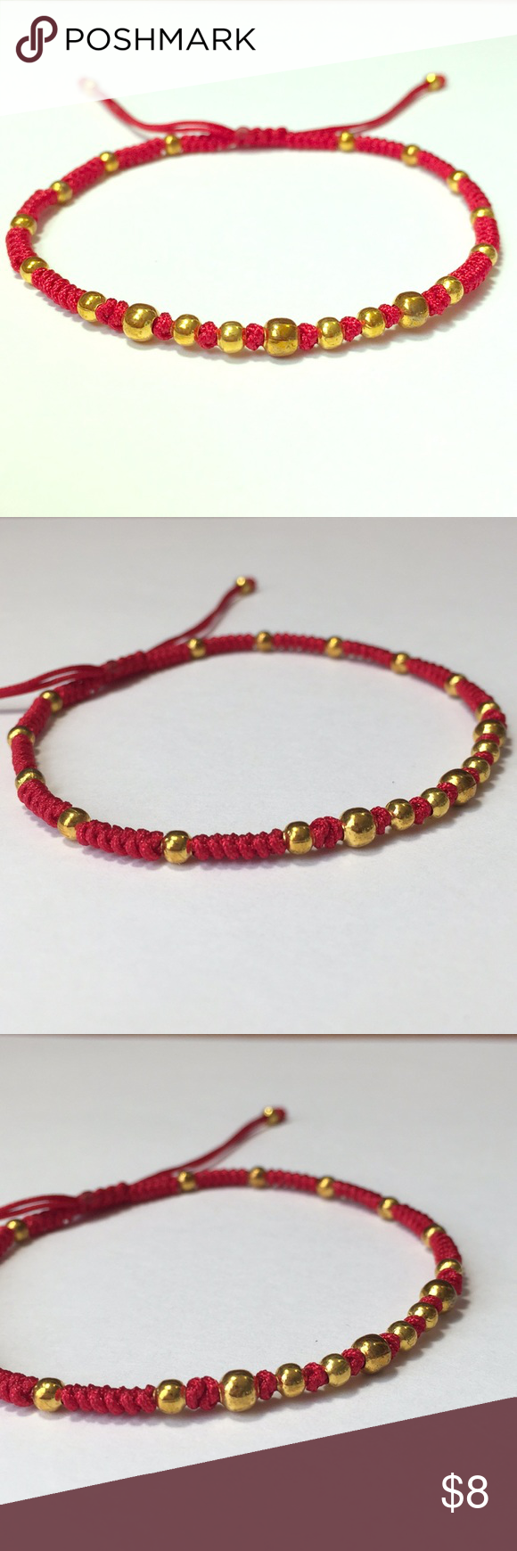 Simple gold lucky red string shamballa bracelet nwt my posh picks