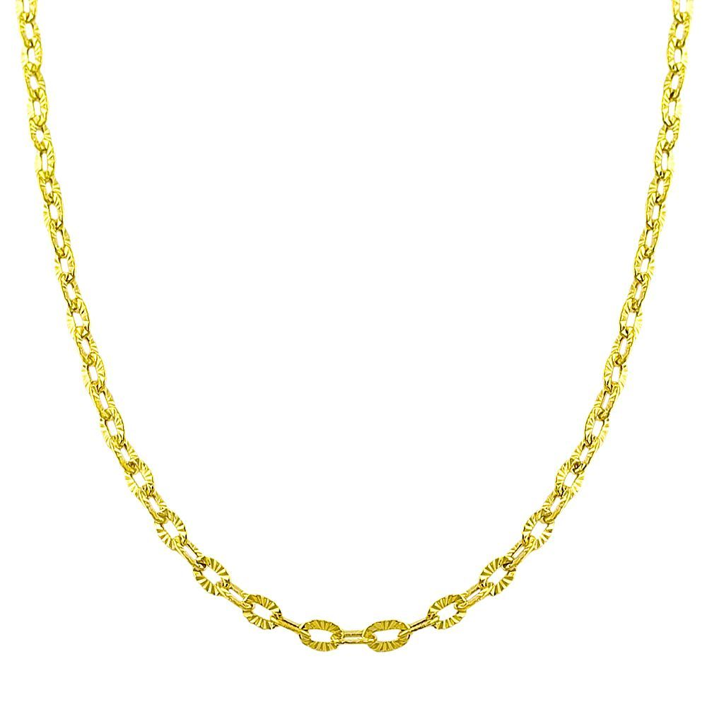 Fremada 14k Yellow Diamond-cut 20-inch Flat Cable Link Necklace ...