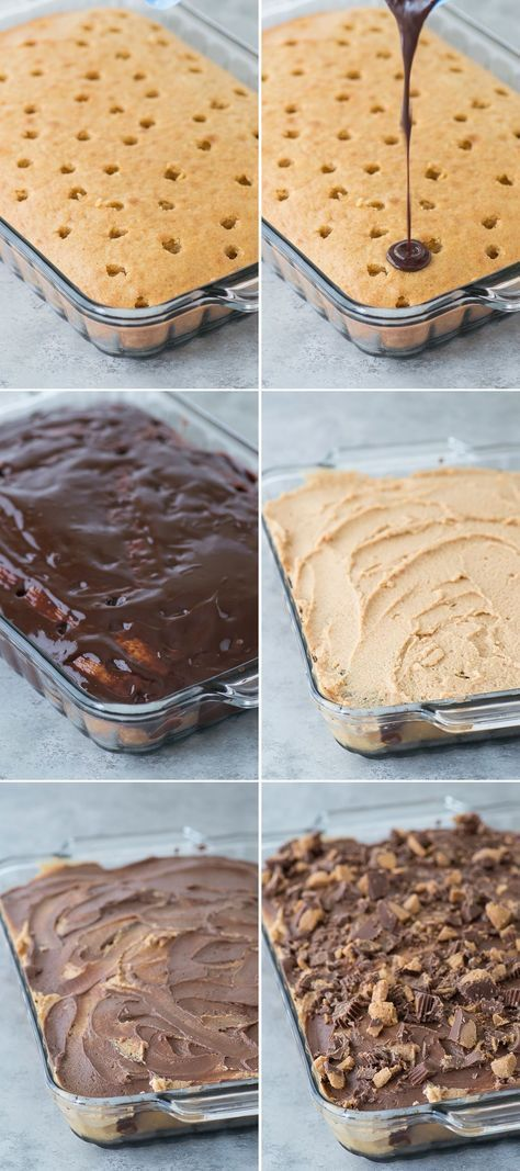 Peanut Butter Chocolate Poke Cake - peanut butter cake, chocolate ganache, peanut butter cream cheese frosting mixed with chocolate frosting all topped with peanut butter cups! #chocolatepeanutbutterpokecake