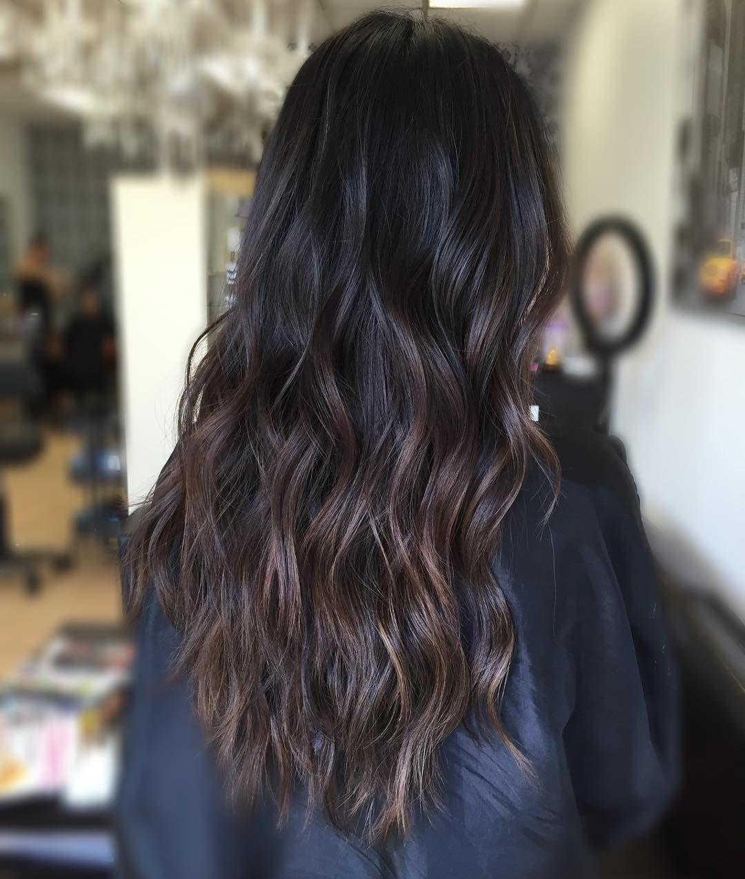 Dark Brown Hair With Subtle Brown Balayage Brown Hair Balayage Hair Highlights Balayage Hair