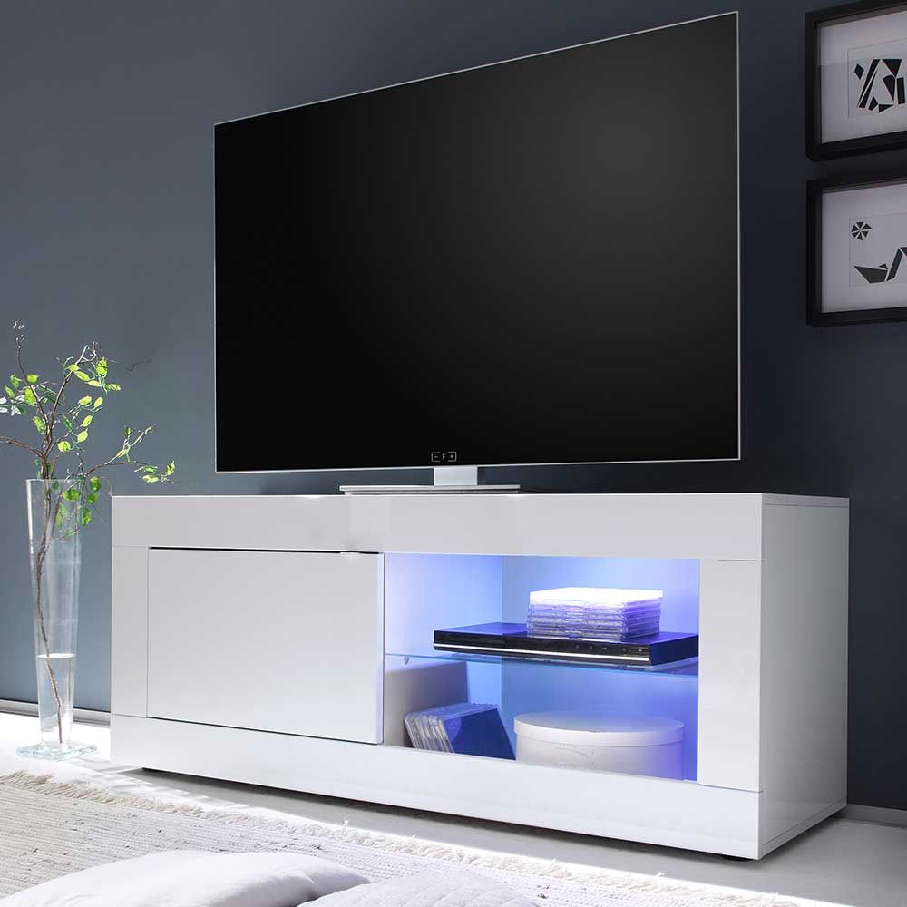 TV Board in Hochglanz Weiß 140 cm breit Jetzt bestellen unter ...