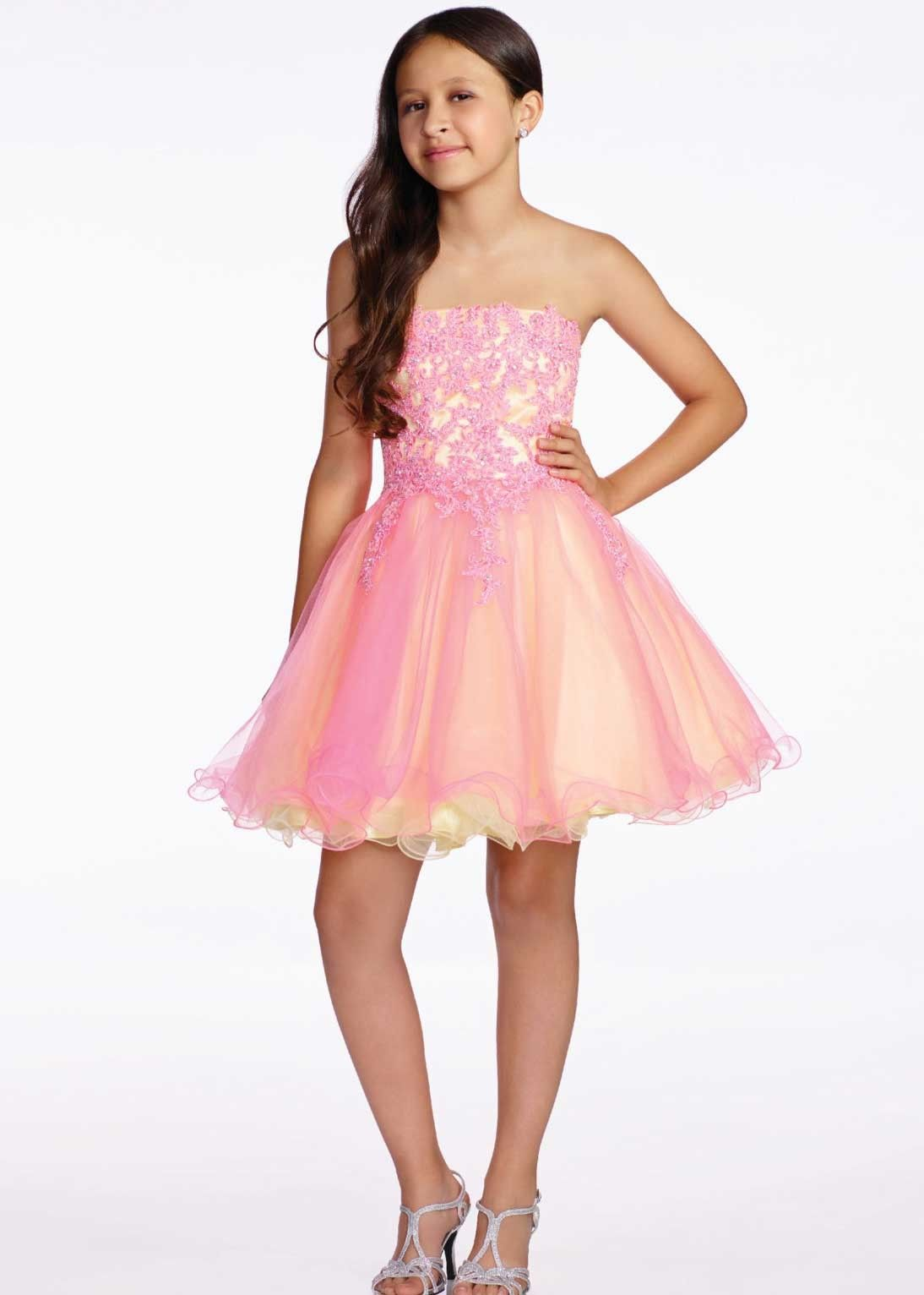 Lexie by Mon Cheri TW11657 Pink/Yellow Lace & Tulle Girls Party ...