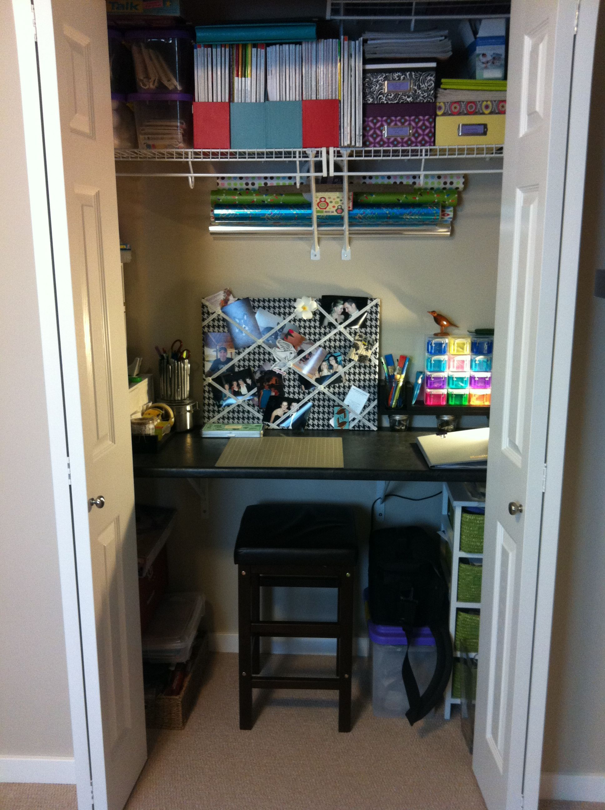 Homemade Craft Closet With Countertop Cut Off From Home