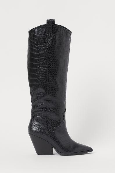 Laarzen met krokodessin Zwartkrokodessin DAMES   H&M NL