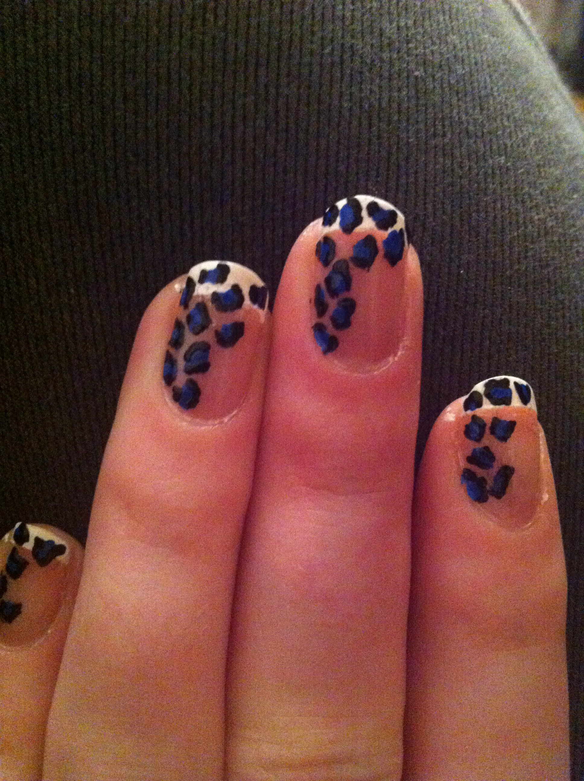 French Manicured Nails With Blue And Black Leopard Print Design