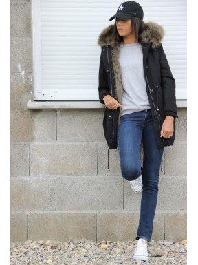 Longue Parka noir doublée fourrure kaki Plus | OOTD en 2018