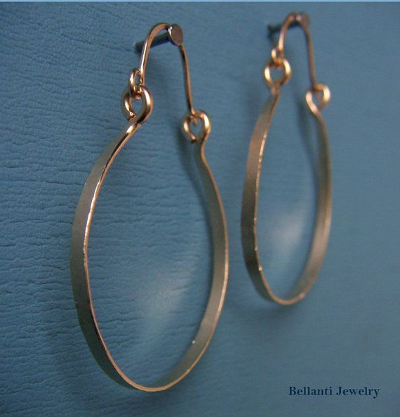 Gold Hinged Hoop Wire Earring Hammered Wire by BellantiJewelry ...