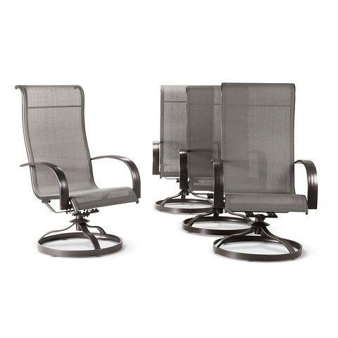 Camden 4pk Metal Sling Swivel Rocker Patio Dining Chair Gray Threshold