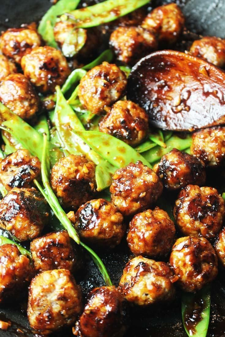 Sriracha Honey Turkey Meatballs with Rice Noodles