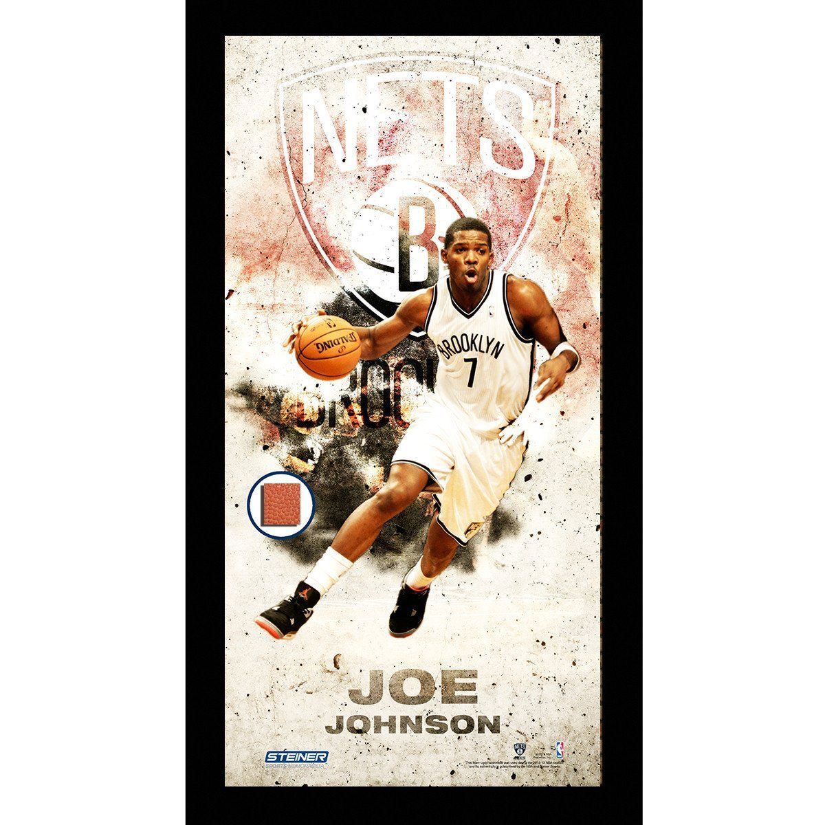 Joe Johnson Brooklyn Nets Player Profile Framed 10x20 Photo Collage Polybag W Game Used Basketball