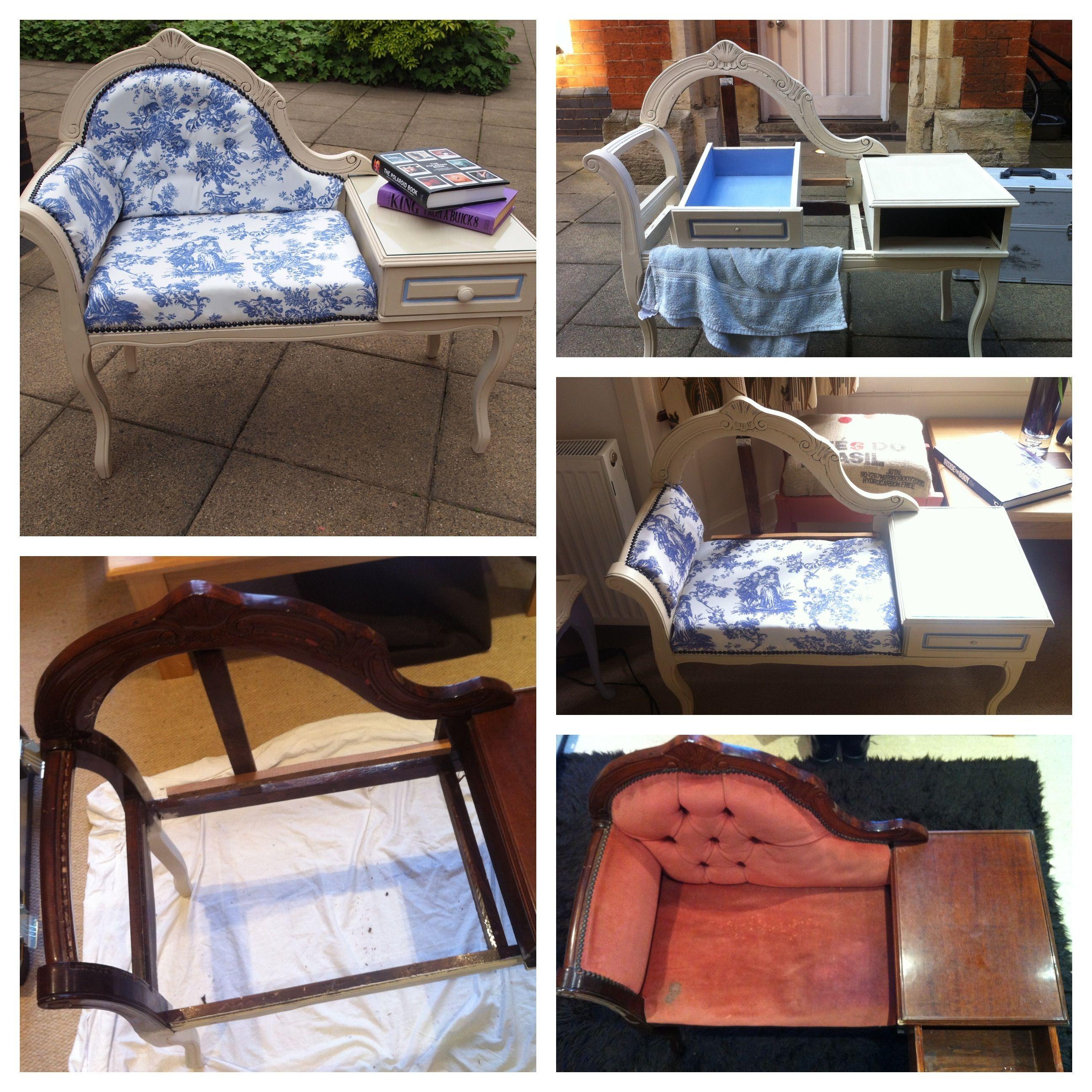 Start To Finish Upcycled Telephone Table Seat
