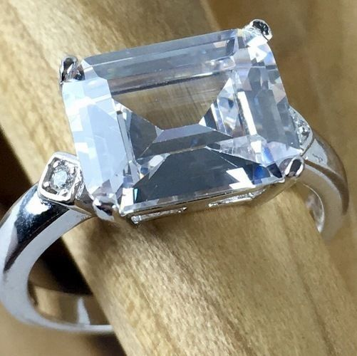 5ct Natural White Sapphire Sterling Silver Engagement Ring #FineJewelryUSA #SolitairewithAccents #Engagement