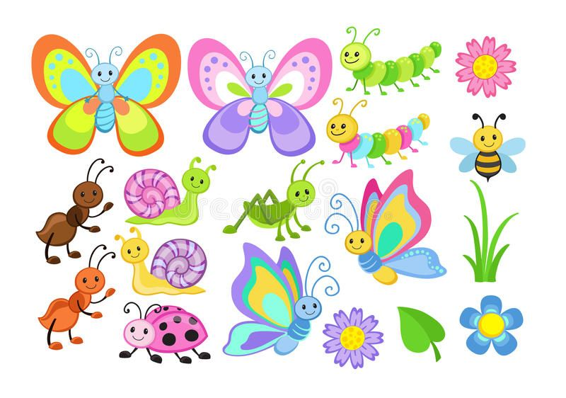 Vector Set Of Cute Cartoon Bugs Vector Illustration Isolated On White Backgroun Aff Cute Cartoon V Butterfly Art Butterfly Painting Girls Bedroom Art