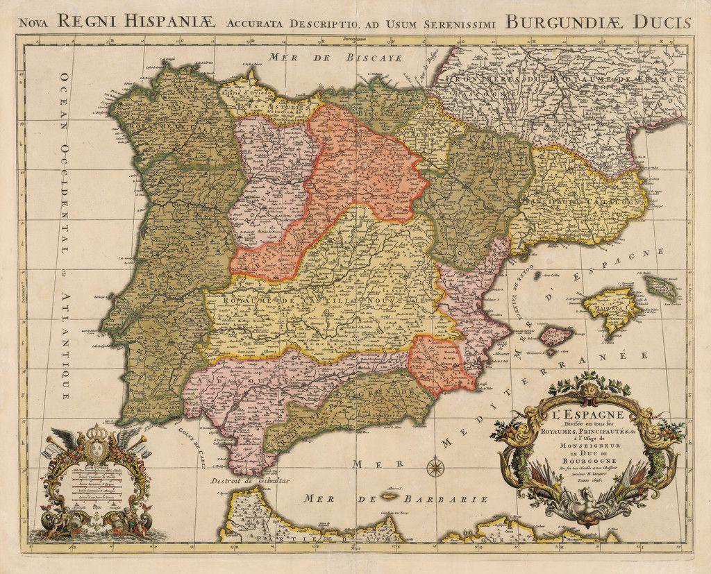1696 L Espagne Divisee En Tous Ses Royaumes Principautes C A L