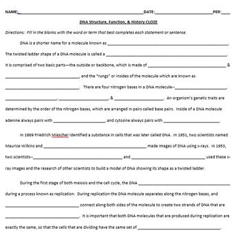 Dna Structure Function History Cloze Cooperative Worksheet