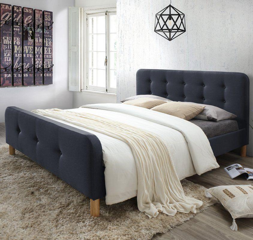Best Riccardo Mid Century Fabric Upholstered Platform Bed 400 x 300
