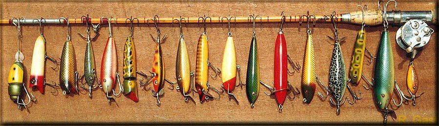 Vintage fishing lures antique tackle clubs history of for Old fishing poles