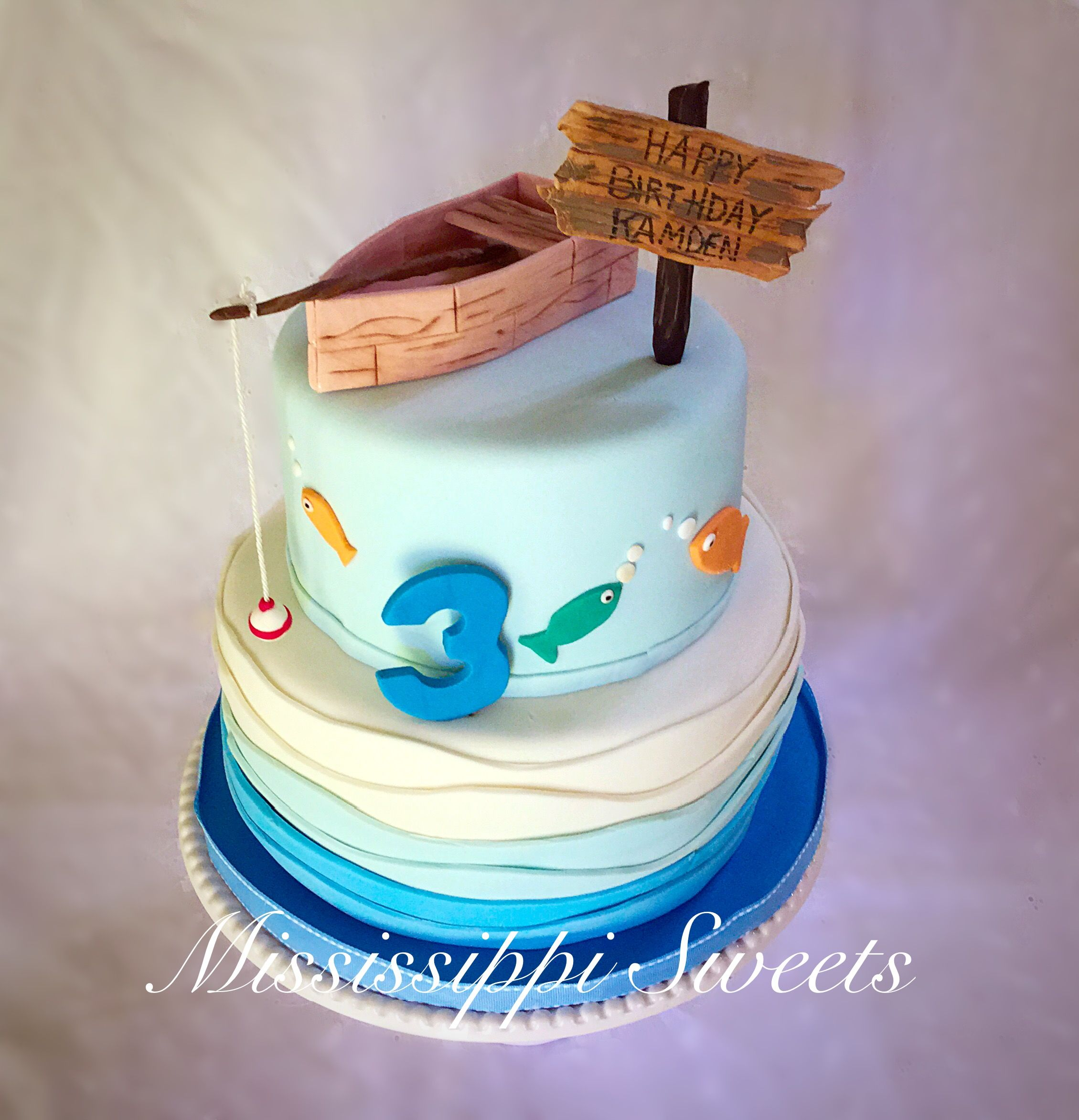 Astounding Fishing Birthday Cake With Images Birthday Cake Kids Fish Personalised Birthday Cards Cominlily Jamesorg