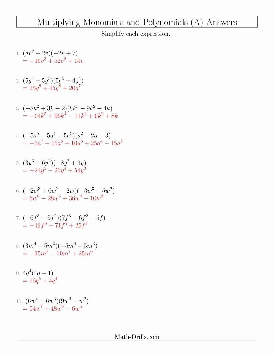 Dividing Polynomials By Monomials Worksheet Lovely Multiplying Monomials And Polynomials With Two Fac In 2020 Word Problem Worksheets Polynomials Factoring Polynomials