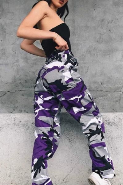 5f50675763b9 6 Colors Contrast Camouflage Loose Cool Pants in 2019