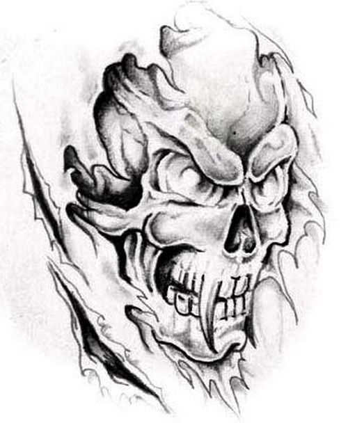 Scary Skull Tattoos Horrible Skull Tattoo Tattoo Design Inspiration Bull Skull Tattoos Skull Tattoos Skull Tattoo Design