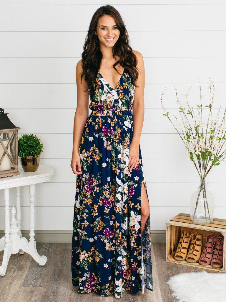 218fab8c2ab The Getaway Floral Maxi Dress - Navy