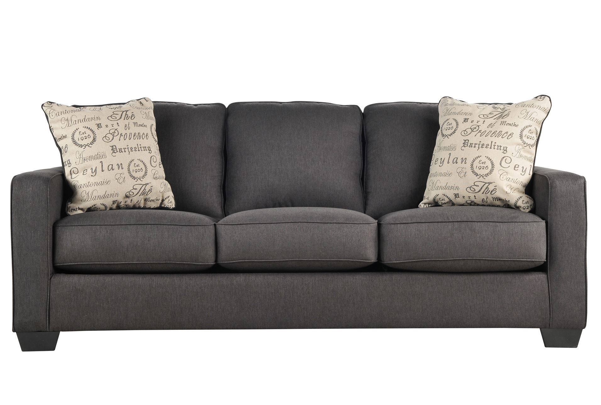 Best Alenya Charcoal Sofa 330 And Comes With Accent Pillows 640 x 480