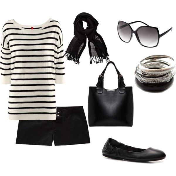 Black and white oversized shirt, black shorts, black flats and the perfect accessories.