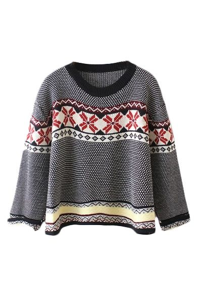 164a9fe74a4e7d Tribal Jacquard Round Neck Long Sleeve Pullover Sweater - Beautifulhalo.com