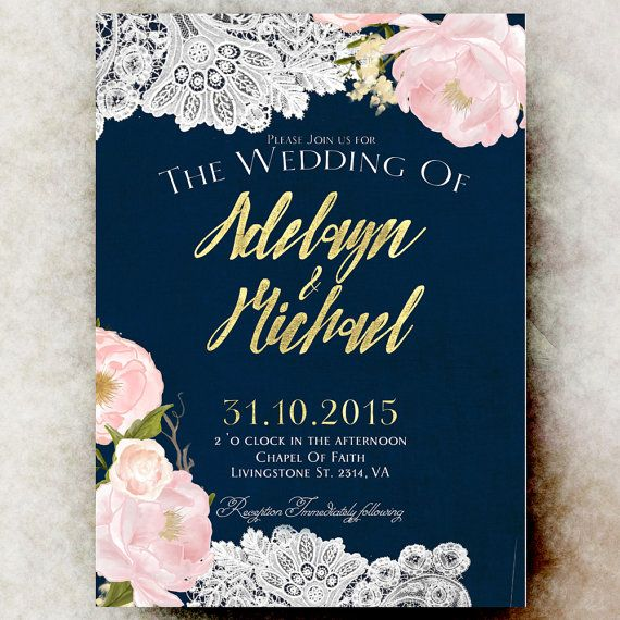 Navy Blue Gold Wedding Invitation By Ravishinginvitations