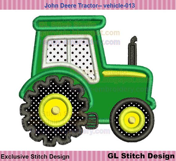 John Deere Tractor Embroidrey Design Machine Embroidery Applique