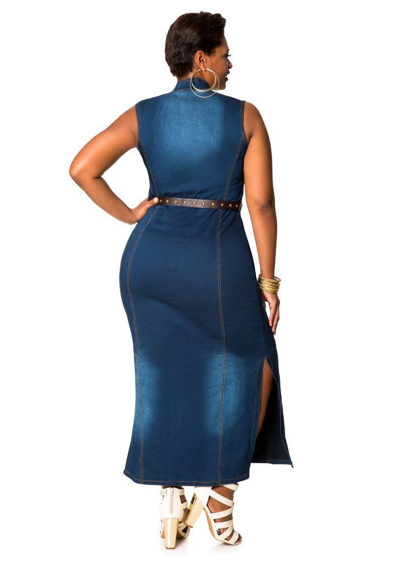 Belted Denim Maxi Dress Plus Size Dresses Ashley Stewart Denim Maxi Dress Maxi Dress Dresses [ 1115 x 800 Pixel ]