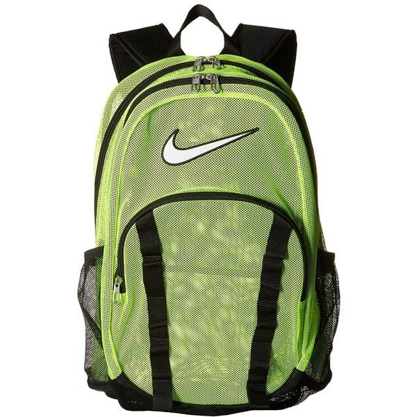 Nike Brasilia 7 Backpack Mesh XL (Volt Black (White)) Backpack Bags ( 55) ❤  liked on Polyvore featuring bags 837c41477e474