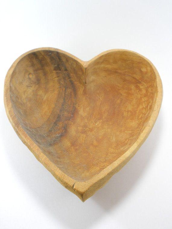 Vintage Hand Carved Heart Bowl Carved Heart Carving Carved Spoons