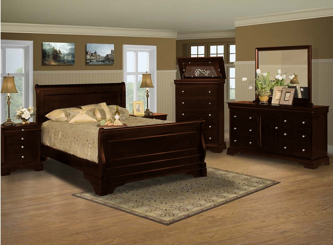 Versailles Bedroom With Sleigh Bed Dark Cherry Louis Philip Style Lift Top Jewelry Box Chest Black Sets Queenblack