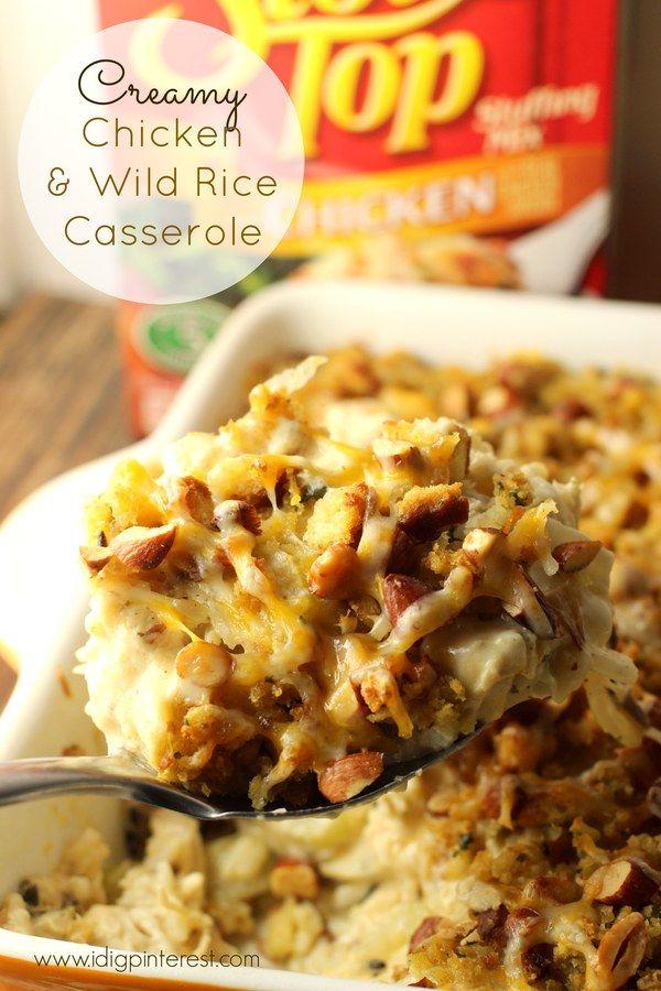 Creamy Chicken & Wild Rice Casserole #creamychickencasserole