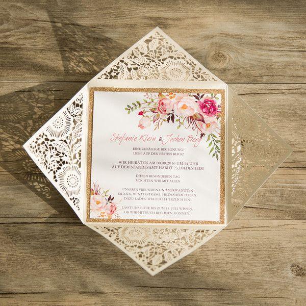 Bohemian Spitze Einladungskarte Hochzeit Mit Blumen Opl207 Wedding
