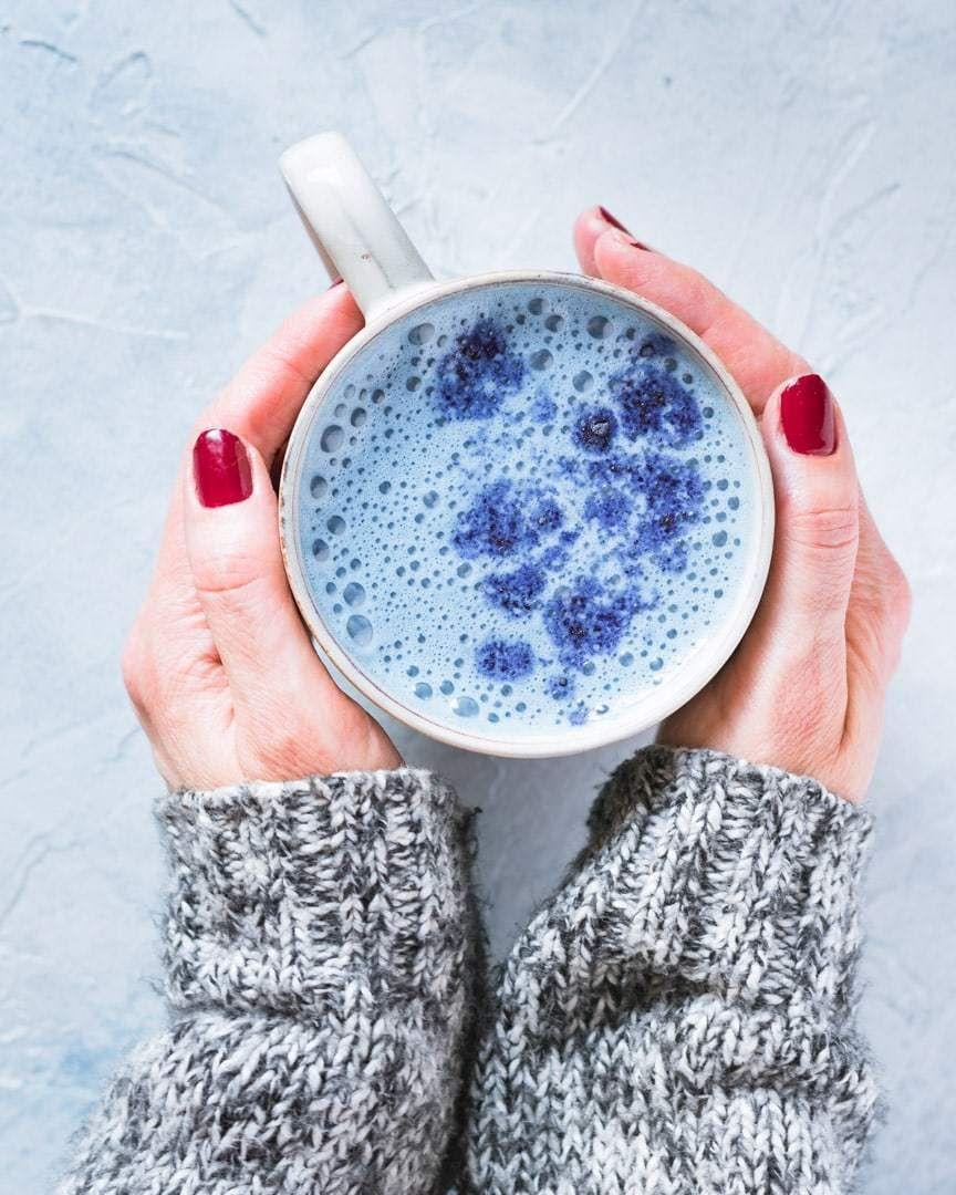 Blue Butterfly Flower Latte With Cashew Milk In 2020