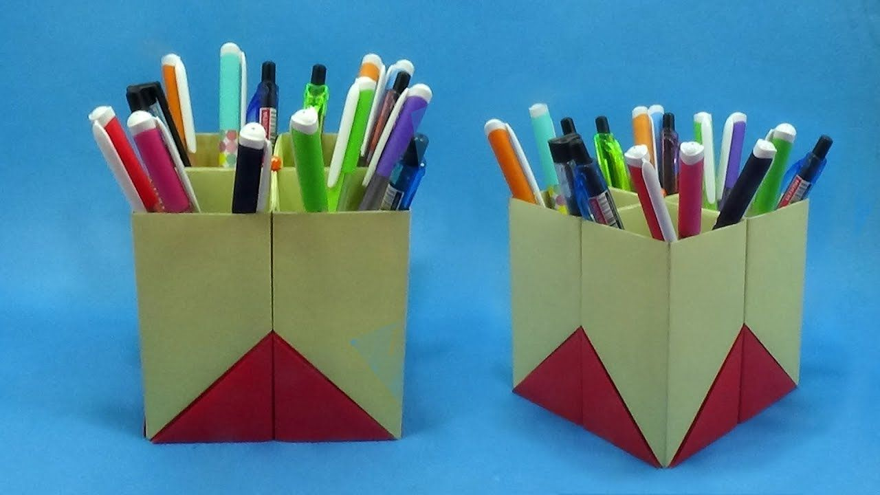 Origami Pen Stand With Paper At Home I Shall Show You How To Make