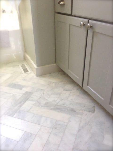 Herringbone Style Carrera Marble Tiles For Bathroom Floor